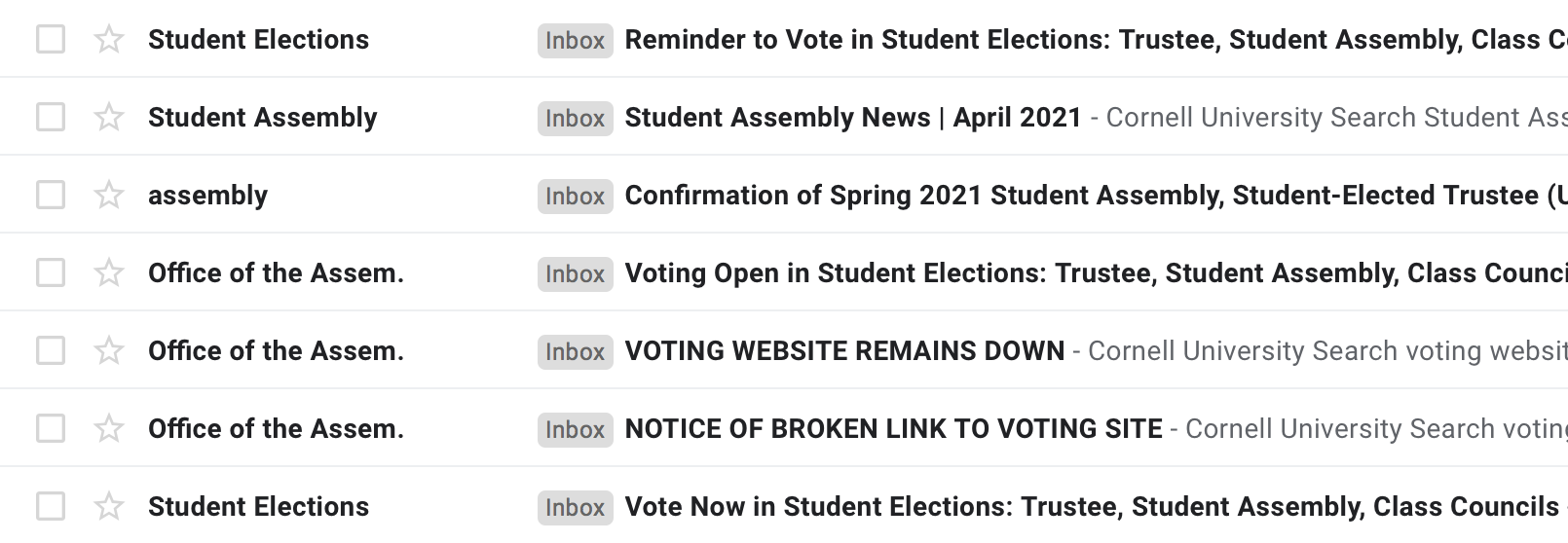 SA Elections Email Confirms There Is Currently No New Update, But They Will Send Update If There Is a New Update