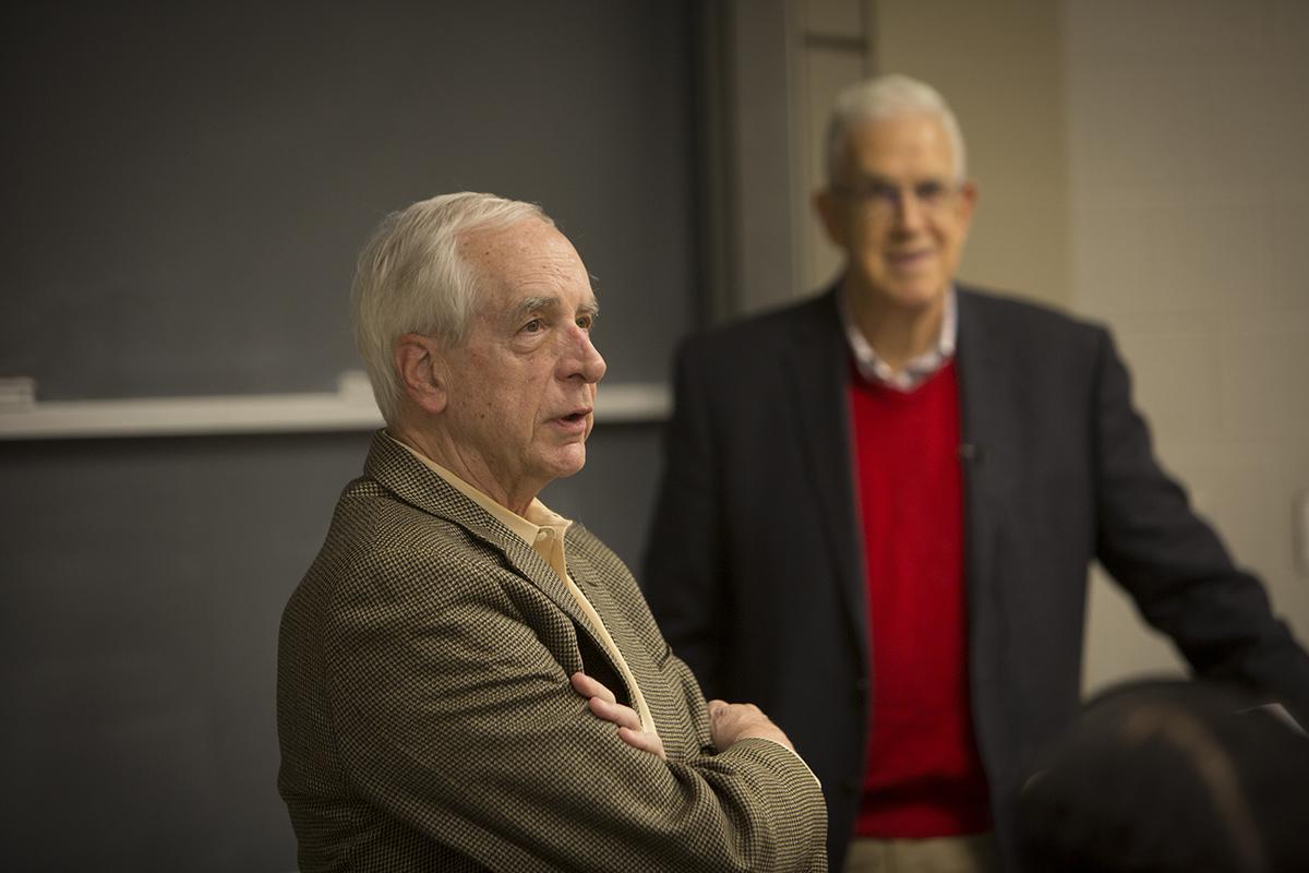 "Rawlings addresses Ron Ehrenberg's class ""Economics of the University."""