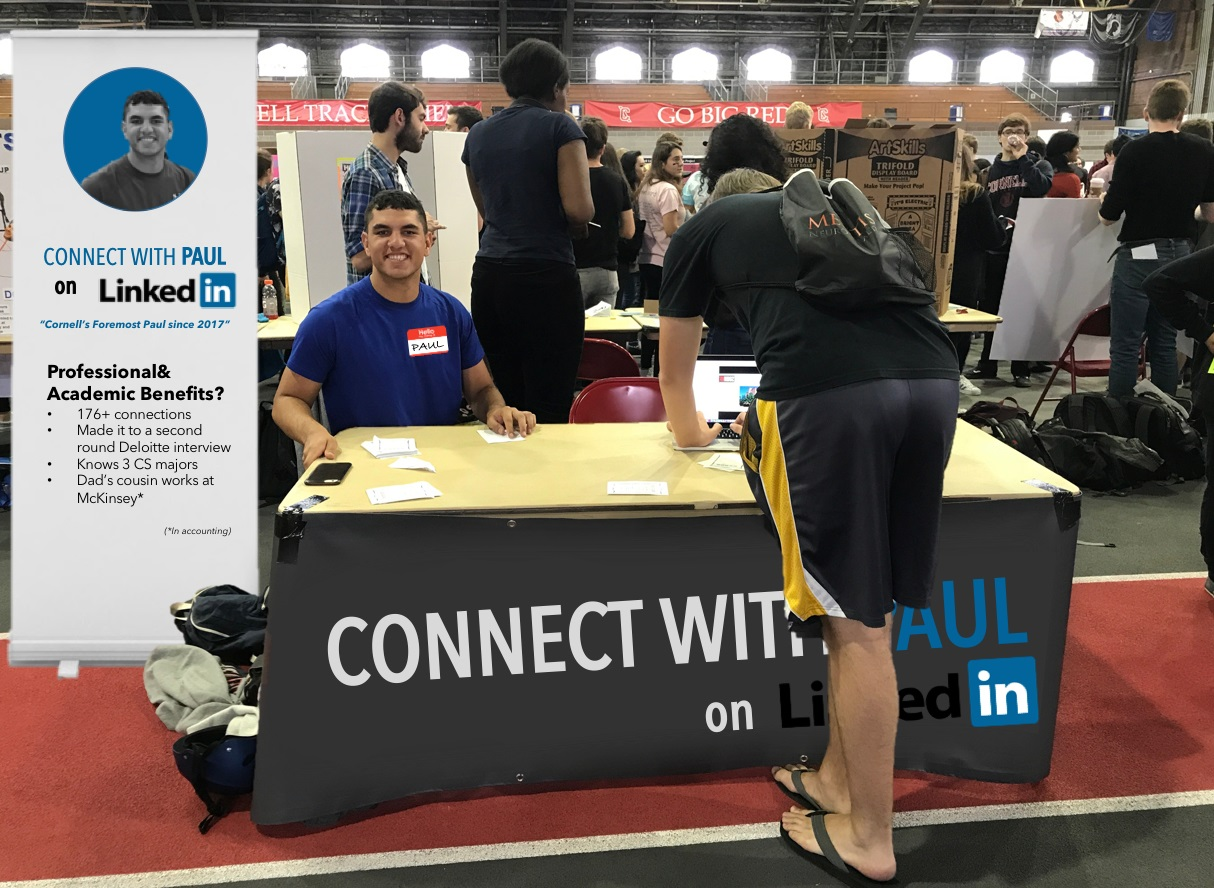 Student's ClubFest Booth Promotes Own LinkedIn Profile